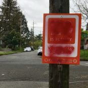 "Someone defaced dozens of ""20 is Plenty"" signs in north Portland"