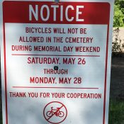 Be advised: River View Cemetery bike route will be closed Memorial Day weekend