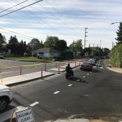First look: New median diverter island on North Greeley at Willamette