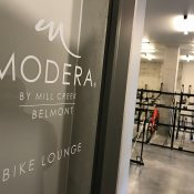 "Inside the ""Bike Lounge"" at new Modera Belmont apartments"