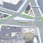 Protected corners and new bike lanes coming to West Burnside this fall