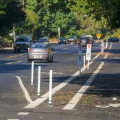 Striping complete, concrete protection still to come for North Rosa Parks Way