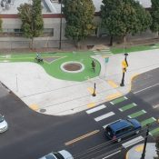 Drone video spotlights Sellwood's new bike traffic circle