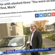 After he cut someone off, man claims he was victim of harassment and tire slashing