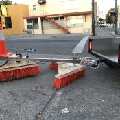 Tired of leaves in bike lanes, this Portlander made a pedal-powered sweeper