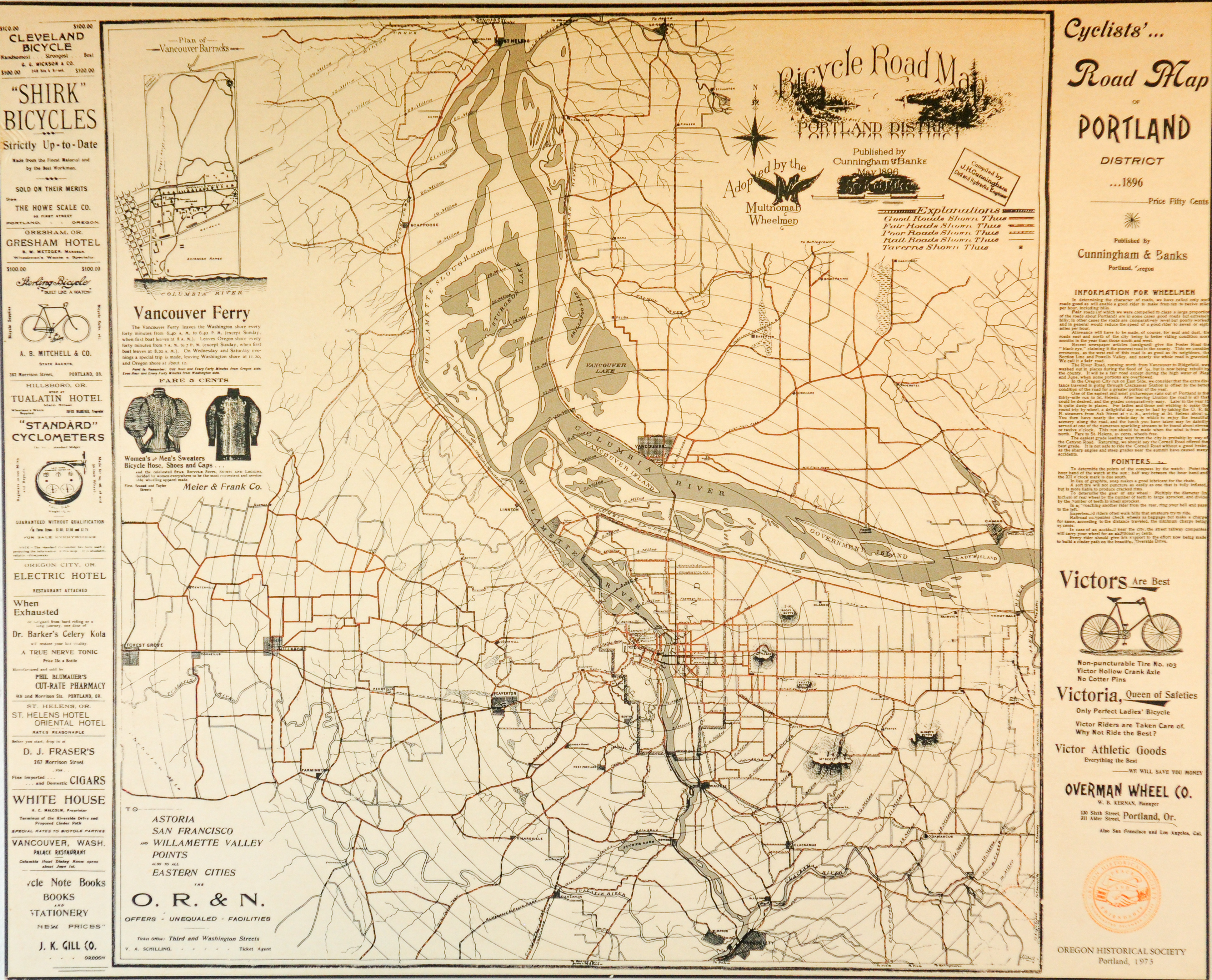 This 1896 map shows the depth of Portland\'s cycling culture ...