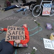 As bell tolls for victims, Portlanders at 'die-in' call on ODOT to end 'traffic violence'