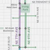 PBOT decides on 9th Avenue for route of future Lloyd to Woodlawn Neighborhood Greenway