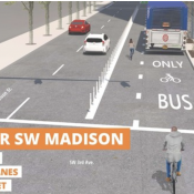 PBOT will install a bus/bike only lane on SW Madison this weekend