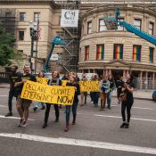 Climate rally shuts down SW 4th Avenue, includes call to end I-5 freeway expansion project