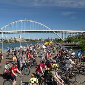 Here's what the Pedalpalooza Kickoff Ride looked like
