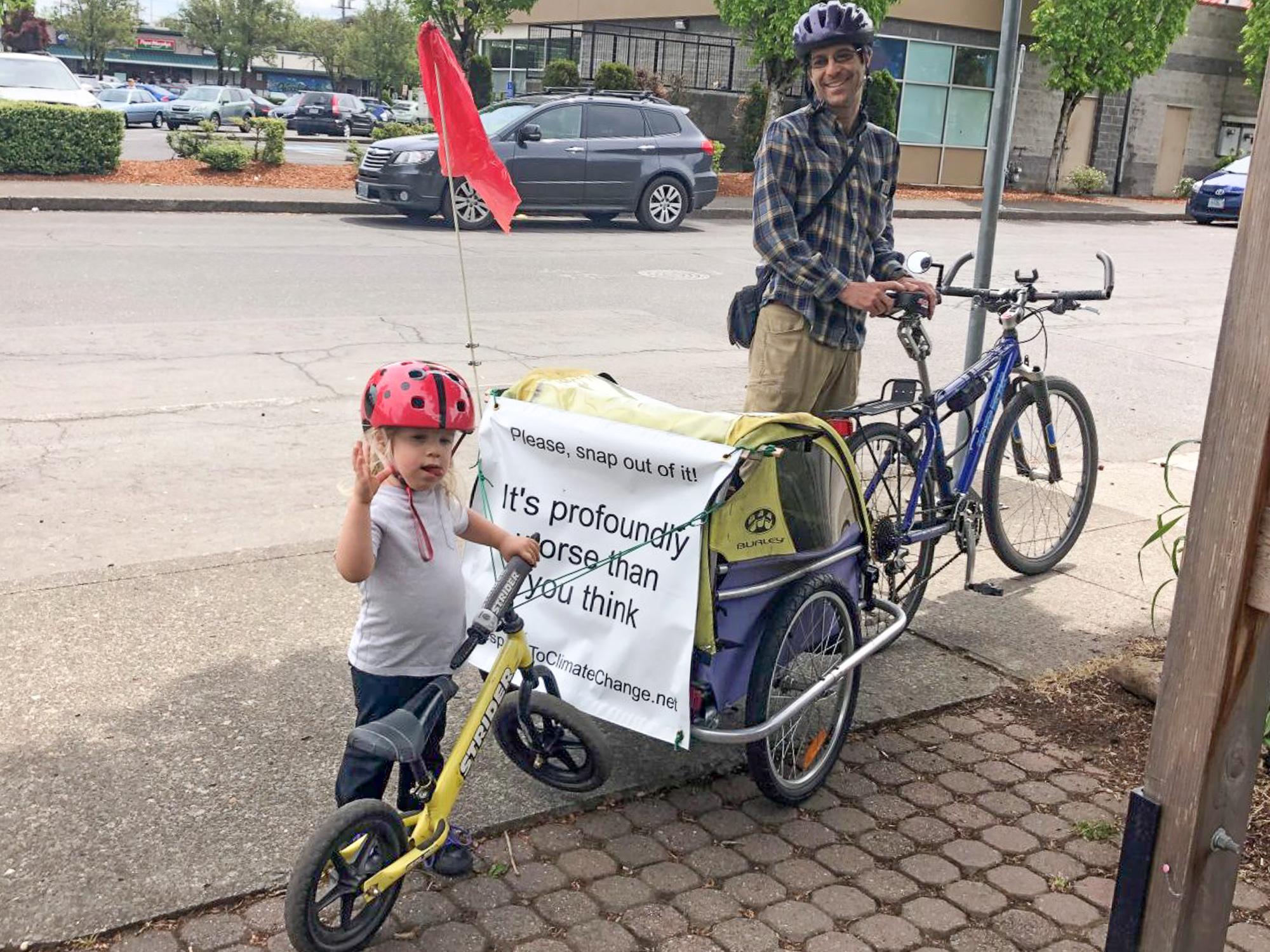 5ab7ed15e3d Skip Spitzer tows his son's balance bike behind their trailer. (Photos:  Madi Carlson)