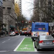 Portland's first red bus lane will be installed today