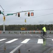 New traffic signal (for bikes too) just installed at notorious Marine Drive intersection