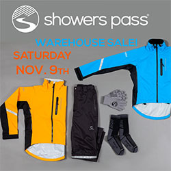 Showers Pass Warehouse Sale Saturday November 9th