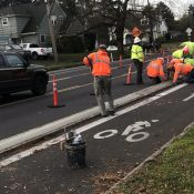 First look: Concrete curbs being installed on N Rosa Parks Way bike lane