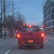 Did you get hit by driver of this red pick-up while crossing Martin Luther King Jr Blvd last night?