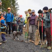 84 volunteers built a half-mile of new MTB trail at Rocky Point on Saturday