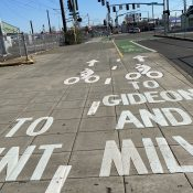 PBOT adds to bikeway markings along Orange Line in southeast