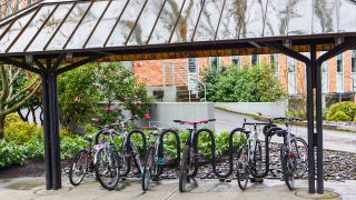 shot of bikes on a rainy day at University of Portland