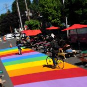 The 'Rainbow Road' on SE Ankeny is Portland's best distanced-dining street plaza