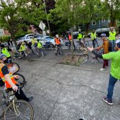 Bike riding volunteers are showing up to support Black Lives Matter protests