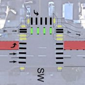 Plans for SW 4th Avenue include physically protected bikeway, bus-only lane