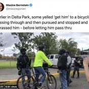 Bicycle riders ensnared by police and Proud Boys during weekend protests