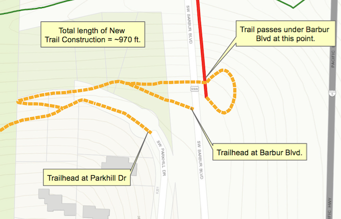 Detail of the proposed switchback in George Himes park. (Source: SW Trails)