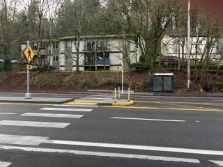 Pedestrian refuge island near SW 35th Ave. (Photo: Lisa Caballero/Bike Portland)