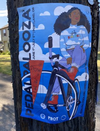 2020 Pedalpalooza poster featuring a woman on a bike in the clouds.