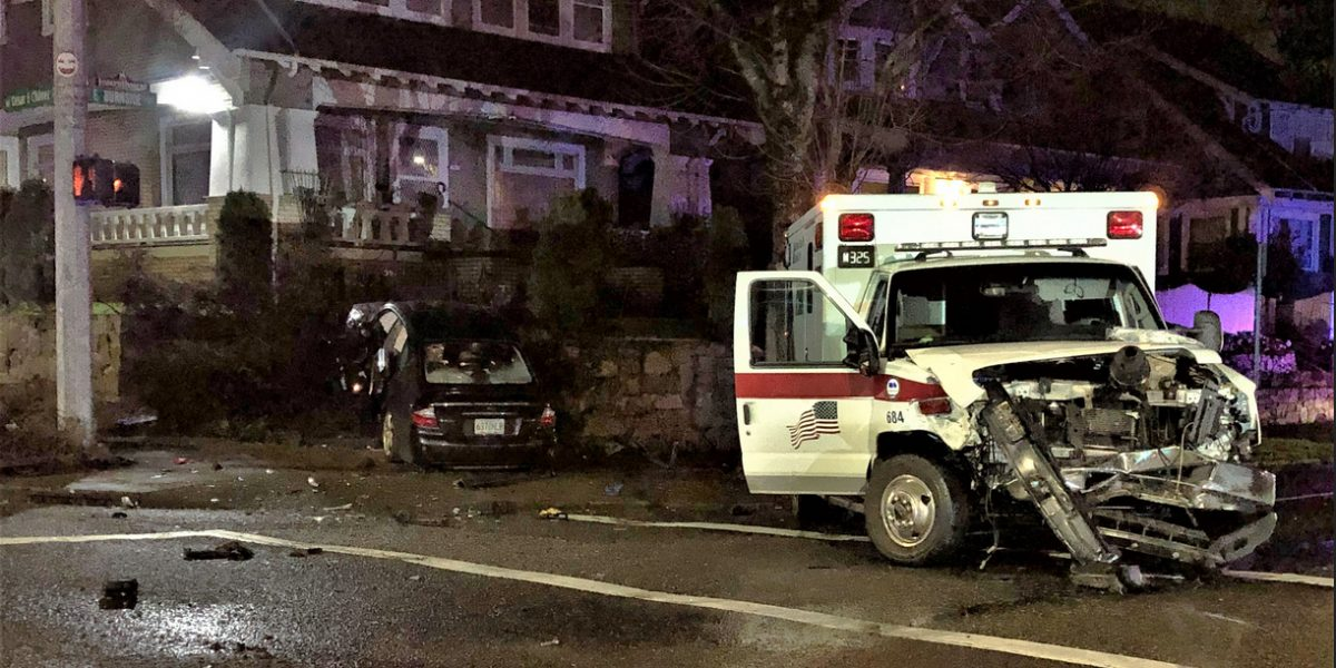 Photo of crash scene where an intoxicated driver hit an ambulance on E. Burnside on March 6th, 2021.