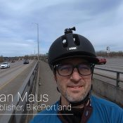 The bike lane in the middle of a Portland freeway