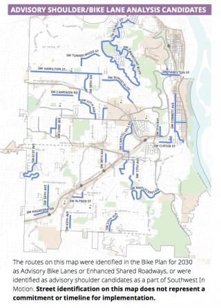 SWIM map of candidate streets for advisory shoulder/bike lanes