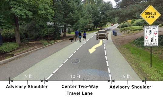 Michael Reiss's design for an Advisory Shoulder in Marshall Park, SW Portland.