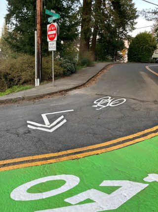 The mouth of Talbot is now one-way for drivers, two-way for bicycle riders.