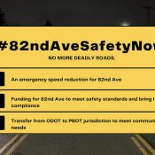 Hours before planned rally, ODOT announces lower speed limit, additional funding for 82nd Avenue