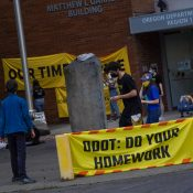 """""""We have to fight!"""" Youth anti-freeway activists protest outside ODOT headquarters"""