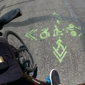 Bike Loud PDX volunteers look to bolster greenways with markings of their own
