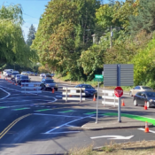 First look: City restripes bikeway at busy SW Bertha, Beaverton-Hillsdale Highway intersection